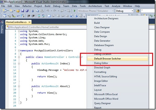 how to change the browser visual studio